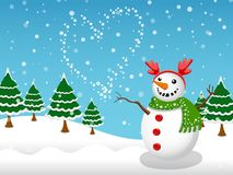 Предпосылка зимы снеговика и вектора снега Стоковые Фото