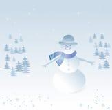 Предпосылка зимы с снеговиком Стоковая Фотография RF