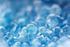 Предпосылка зимы холодная, голубые кристаллы Макрос Стоковые Изображения RF