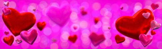 Предпосылка знамени дня ` s валентинки с сердцами Стоковое Изображение RF