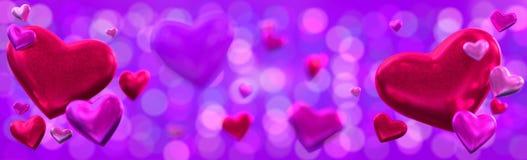 Предпосылка знамени дня ` s валентинки с сердцами Стоковая Фотография RF