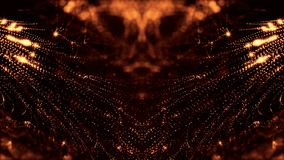 Предпосылка золота безшовная абстрактная с частицами Виртуальный космос с глубиной поля, sparkles зарева и цифровыми элементами сток-видео