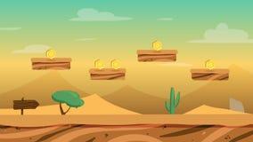 Предпосылка игры пустыни шаржа с монетками и уровнями иллюстрация вектора