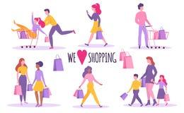 предпосылка изолированная над белизной покупкы людей изолировано Счастливые люди с хозяйственными сумками и тележкой Плоский стил бесплатная иллюстрация