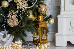 Предпосылка интерьера рождества Стоковые Изображения RF