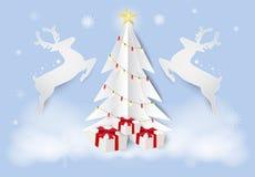 Предпосылка искусства бумаги сезона рождества Олени и сосна иллюстрация вектора