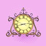 Предпосылка искусства шипучки, часы настольного компьютера Ретро объект, антиквариаты, vector имитационный шуточный стиль иллюстрация вектора