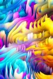 Предпосылка искусства 3d абстрактных красочных волн цифровая Стоковые Изображения