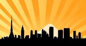 предпосылка испускает лучи токио горизонта города Стоковое фото RF