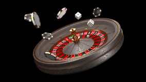 Предпосылка казино Роскошное колесо рулетки казино изолированное на черной предпосылке Тема казино Казино конца-вверх белое бесплатная иллюстрация