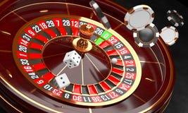Предпосылка казино Роскошное колесо рулетки казино на черной предпосылке Тема казино Рулетка казино конца-вверх белая с a иллюстрация штока