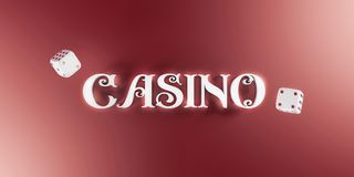 Предпосылка казино с костью и казино 3d подписывают Знамя онлайн казино широкое Взгляд сверху белых кости и литерности казино Стоковое Изображение