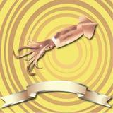 Предпосылка кальмара реалистические и лента серебра Стоковые Фото