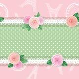Предпосылка картины затрапезной шикарной ткани безшовная Girly Различная ткань соединяет коллаж, украшенный с шнурком и розами ве бесплатная иллюстрация