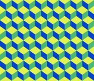Предпосылка картины зеленых голубых кубов конспекта контура геометрических безшовная Стоковая Фотография