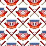 Предпосылка картины конкуренции лиги эмблемы чемпиона ярлыка турнира игры бейсбольной команды вектора игры спорта безшовная Стоковые Изображения RF