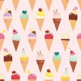 Предпосылка картины конуса мороженого безшовная реалистическо Яркий и пастельный цвет Для печати и сети Стоковое Изображение RF