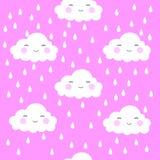 Предпосылка картины милого облака стороны мультфильма безшовная с точкой, иллюстрацией вектора иллюстрация вектора