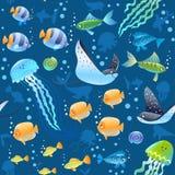 Предпосылка картины моря безшовная с красивыми рыбами мультфильма, черепахой, и другим плавать подводным Крутые обои стоковая фотография