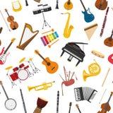 Предпосылка картины музыкальных инструментов безшовная иллюстрация вектора
