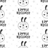 Предпосылка картины питомника ребяческая безшовная с кроликами иллюстрация штока