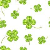 Предпосылка картины реалистического детального зеленого растения клевера безшовная вектор Стоковые Изображения