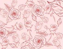 Предпосылка картины Розы винтажной пастели Handrawn безшовная Стоковая Фотография RF