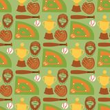 Предпосылка картины спортивного оборудования дизайна шаржа игры софтбола символа команды игры конкуренции спорта бейсбола безшовн иллюстрация штока