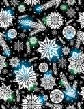 Предпосылка картины черного рождества безшовная с снежинками и Стоковая Фотография