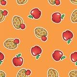 Предпосылка картины яблочного пирога Сладостный и вкусный испеченный пирог плодоовощ от картины красных яблок безшовной иллюстрация штока