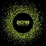 Предпосылка карточки Нового Года 2018 вектора счастливая Зеленое яркое диско освещает рамку круга полутонового изображения Иллюстрация вектора