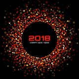 Предпосылка карточки Нового Года 2018 вектора счастливая Красное яркое диско освещает рамку круга полутонового изображения Иллюстрация вектора