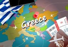 Предпосылка карты концепции перемещения Греции с самолетами, билетами посещение иллюстрация вектора