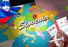 Предпосылка карты концепции перемещения Словении с самолетами, билетами Перемещение Словении посещения и концепция назначения тур бесплатная иллюстрация