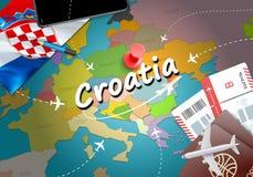 Предпосылка карты концепции перемещения Хорватии с самолетами, билетами Visi иллюстрация штока