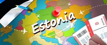 Предпосылка карты концепции перемещения Эстонии с самолетами, билетами Перемещение Эстонии посещения и концепция назначения туриз иллюстрация вектора