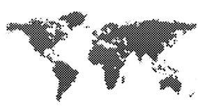 Предпосылка карты мира точечного растра полутонового изображения Стоковое Изображение RF