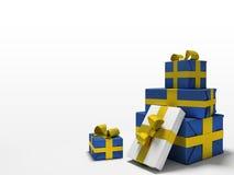 предпосылка кладет белизну в коробку подарка цвета Стоковая Фотография RF