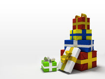 предпосылка кладет белизну в коробку подарка цвета Стоковое фото RF