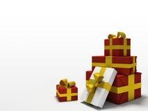 предпосылка кладет белизну в коробку подарка цвета Стоковое Изображение RF