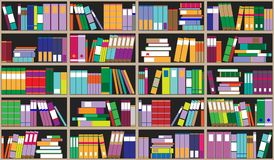 Предпосылка книжных полок Полки вполне красочных книг Домашняя библиотека с книгами Иллюстрация вектора близкая поднимающая вверх Стоковое Фото