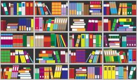 Предпосылка книжных полок Полки вполне красочных книг Домашняя библиотека с книгами Иллюстрация вектора близкая поднимающая вверх Стоковые Изображения