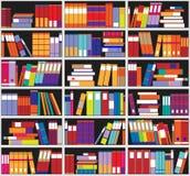 Предпосылка книжных полок Полки вполне красочных книг Домашняя библиотека с книгами Иллюстрация вектора близкая поднимающая вверх Стоковая Фотография