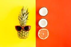 Предпосылка кокоса грейпфрута солнечных очков ананаса красочная плоская Стоковые Фотографии RF