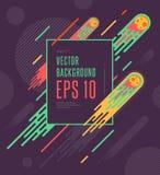 Предпосылка комет космоса Minimalistic красочная геометрическая Vector дизайн для вашего искусства, крышки, открытки, рогульки, п Стоковая Фотография RF