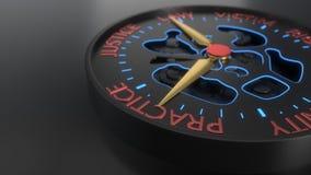 Предпосылка компенсации и судебного процесса compass концепция, перевод 3d Стоковая Фотография