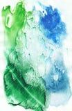Предпосылка конспекта акварели, покрашенная вручную текстура, синь акварели и зеленые пятна Дизайн для предпосылок, обоев, крышек иллюстрация вектора