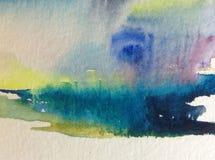 Предпосылка конспекта акварели яркая красочная текстурная handmade Картина неба и облаков во время захода солнца Современная косм стоковая фотография