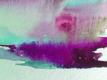 Предпосылка конспекта акварели яркая красочная текстурная handmade Картина неба и облаков во время захода солнца Современная косм стоковые изображения rf
