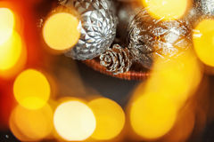 Предпосылка конспекта Christmass в золотых тонах Стоковое фото RF